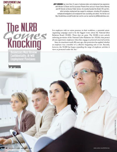 NLRB Comes Knowcking Phoenix Arizona